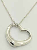TIFFANY & CO. ELSA PERETTI Open Heart Pendant Sterling Silver 18