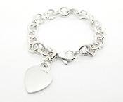 Tiffany & Co  Heart Tag Sterling Chain Bracelet