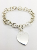 TIFFANY & CO 925 Heart Tag Charm T & Co Sterling Bracelet 7.75""