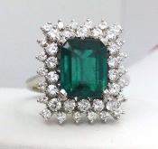 2.45 Carat Emerald Diamond Cocktail Ring 18K White Gold 1.07 TCW
