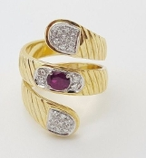 18k Gold Ruby Diamond Snake Ring Yellow White Gold Bypass Coil
