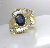 14K Gold Natural Oval Sapphire 1.25 tcw Diamond Cocktail Ring