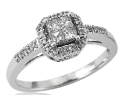 14K White Gold Princess 0.36 tcw Diamond Pave Engagement Ring