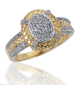 14K Gold Two-tone 0.41 tcw Pave Round Diamond Ring SI1, SI2, H
