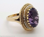 14K Yellow Gold Amethyst & Pearl Gemstone Cocktail Ring