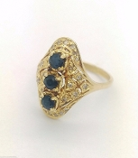 14K Yellow Gold Sapphire & Diamond Ring 0.25tcw Cocktail Ring