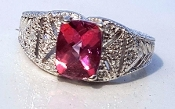 14k White Gold Topaz 0.10tcw Diamonds Pink Imperial Topaz Ring