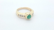 14K Yellow Gold Natural Colombian Emerald 0.14 tcw Diamond Ring