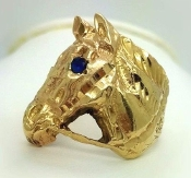 14K Yellow Gold Horse Head Sapphire Accent Ring Size 6.75