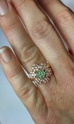 Vintage 14k Gold Pink Green Tourmaline Flower Cocktail Ring