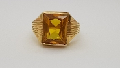 Mens 14K Yellow Gold 7 carat Sapphire Brilliant Cut Ring