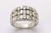 14K White Gold Multi Row Diamond Ring 2.64 tcw Sz 6.25 SI1