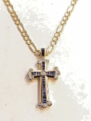 14K Yellow Gold Diamond & Sapphire Cross Pendant Charm Medallion
