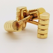 Larter & Sons 14K Yellow Gold Ribbed Bar Barrel Cufflinks