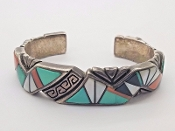GUY HOSKIE Navajo SS Turquoise Coral Mother of Pearl Bracelet