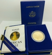 1986-W $50 Gold American Eagle 1Ozt Proof Coin MCMLXXXVI w COA