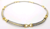 Charriol 18K Yellow Gold & SSl Cable Collar Necklace 15.5""