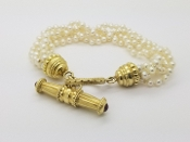 AAA Akoya Pearl 5 Strand Bracelet 18K Yellow Gold Toggle Clasp