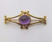 18Kt Yellow Gold Art Deco Amethyst Cabochon French Brooch Pin