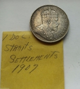 1907 Straits Settlements Silver One Dollar Large Cent King