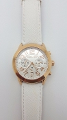 Michael Kors Mercer White Leather Rose Gold Chrono Ladies Watch