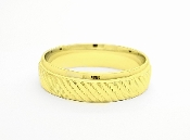 14k Gold Beveled Accent Trim & Textured  Wedding Band 6mm