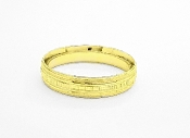 14K Gold Brushed Trim & High Polish Wedding Band 5.5mm