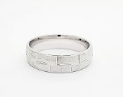 Sterling Silver Engraved Geometric Style Wedding Band 6.0mm