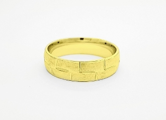 14K Gold Engraved Geometric Style Wedding Band 6.0mm