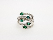 18K Gold Emerald & Diamond Bypass Ring