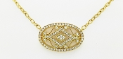 1.00 ctw East-West Oval Diamond 14K Gold Pendant Necklace 18""