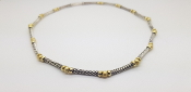David Yurman 925 Sterling Silver & 14K Gold Bead Cable Necklace