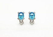 Signed FP Premier 14K White Gold 6.5 tcw Topaz Diamond Earrings