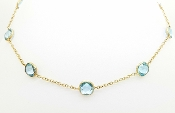 Natural Blue Topaz 14K Gold Gemstone Yard Station Chain Necklace