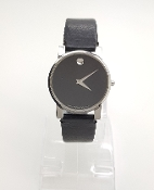 Movado Museum Black Dial Leather Strap Wristwatch 84.G4.875