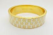 Michael Kors Heritage Gold Tone Monogram Hinge Bangle Bracelet