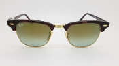Ray-Ban Clubmaster Green Flash Lens Sunglasses with Brown Case