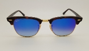 Ray-Ban Clubmaster Blue Flash Lens Gradient Sunglasses New
