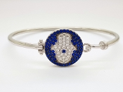Hamsa Hand Sterling Silver CZ Bangle Bracelet