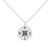 Sterling Silver Compass North South East West Pendant Necklace
