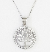Tree of Life Sterling Silver CZ Halo Charm Pendant
