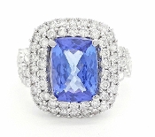Gia Violetish Blue 3.0ct Tanzanite 1.22tcw Diamonds 14K Ring