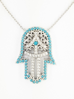 Sterling Silver Turquoise CZ Hamsa Hand Pendant Necklace