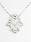 Sterling Silver White CZ Hamsa Hand Pendant Necklace