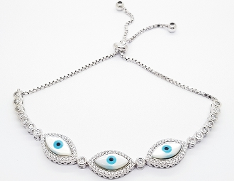 Triple Light Blue Evil Eye CZ Sterling Silver Bracelet