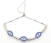 Triple Evil Eye Blue and White CZ Sterling Silver Bracelet