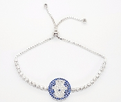 Hamsa Hand Charm Blue and White Cubic Zirconia Bracelet