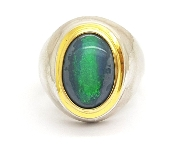 Oval Australian Opal 22K Yellow Gold & 925 Sterling Silver Ring