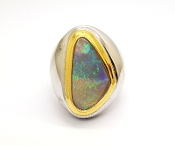 Oblong Australian Opal 22K Yellow Gold 925 Sterling Silver Ring