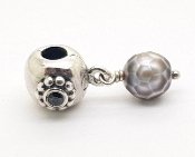 Pandora Sterling Silver Pearl Of Wisdom Grey Faceted Pearl Charm